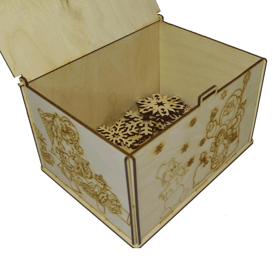 картинка Новогодняя подарочная шкатулка с гравировкой 22x17x13см, арт. Ф00020 - подарки и декор из дерева - подереву.рф