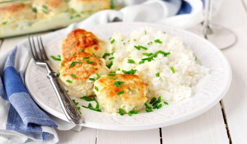Рис с куриной котлетой