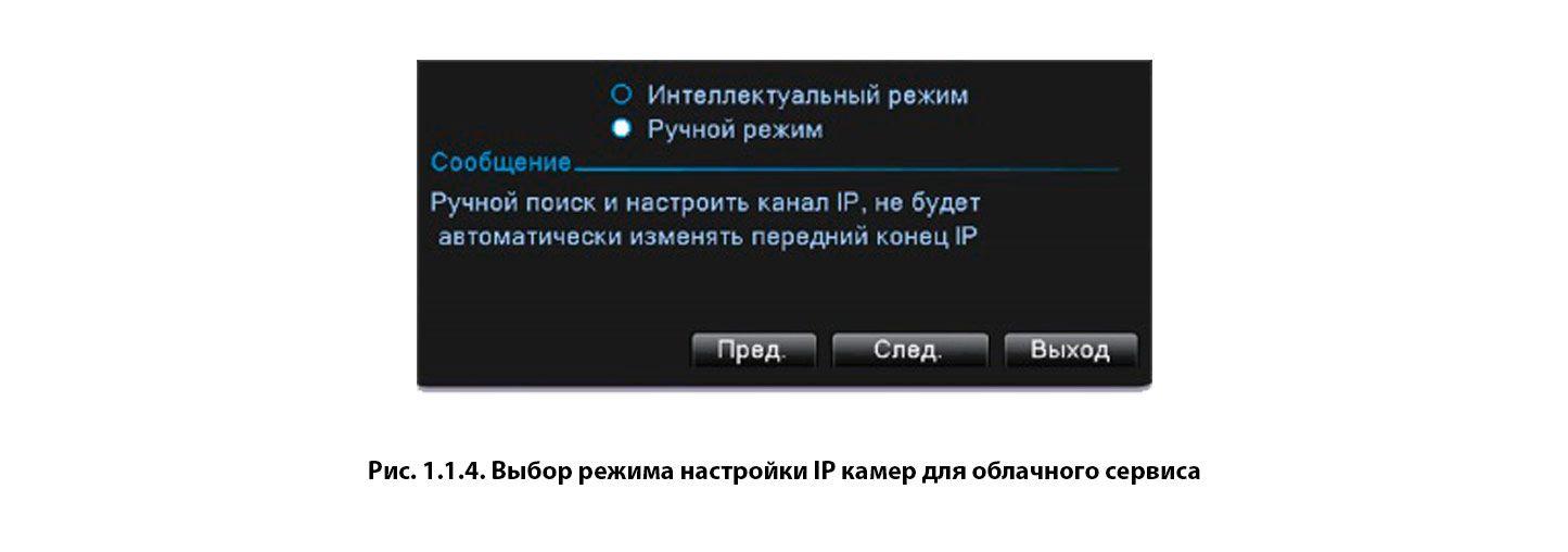 Выбор режима настройки IP камер для облачного сервиса