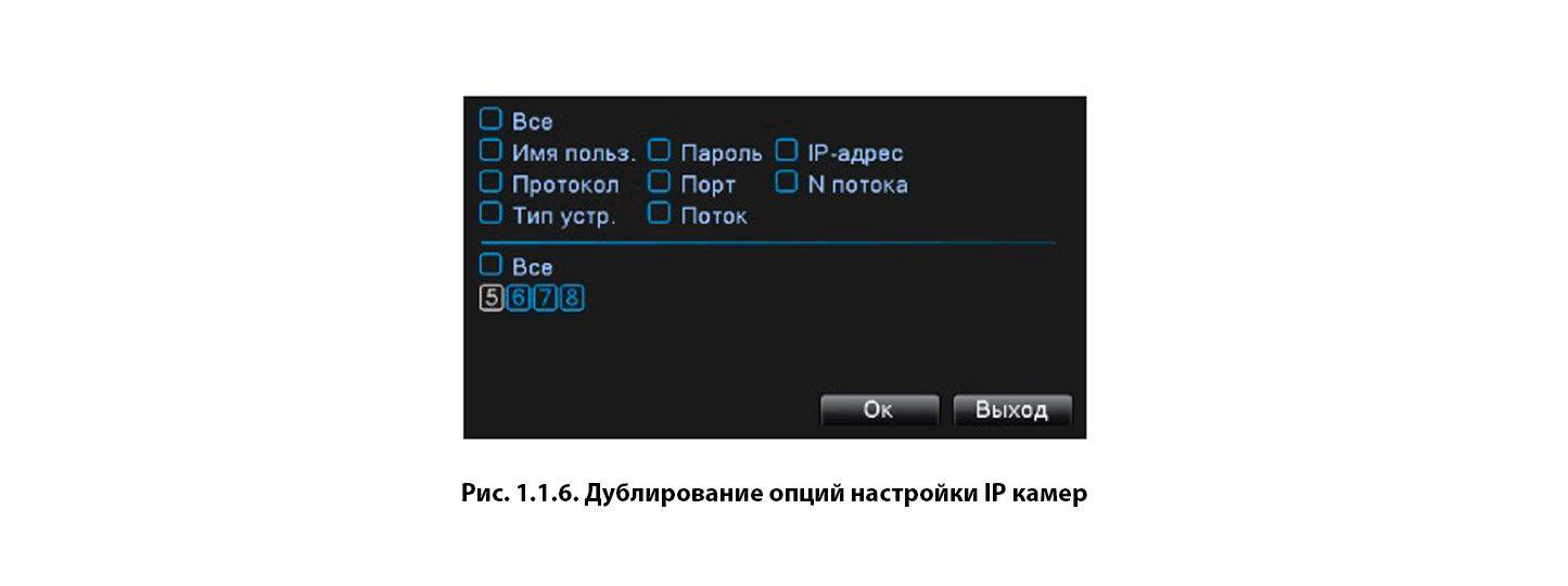 Дублирование опций настройки IP камер