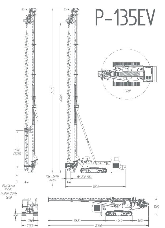 Характеристики буровой установки CFA llamada p-135