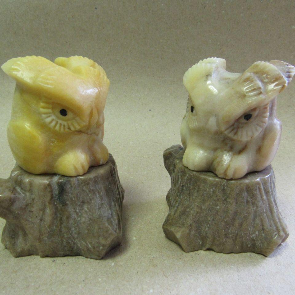 Скульптура Совенок камень ангидрит и кальцит