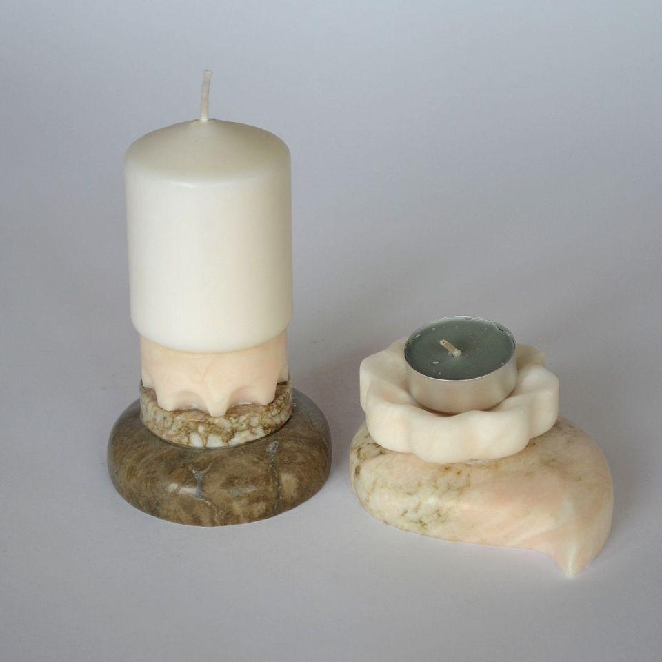 Подсвечник мозаика камень ангидрит кальцит