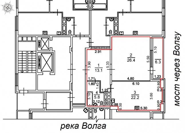 Базовая планировка 1-комнатной квартиры 73.79 м2 новостройка ЖК Столица планировка продажа