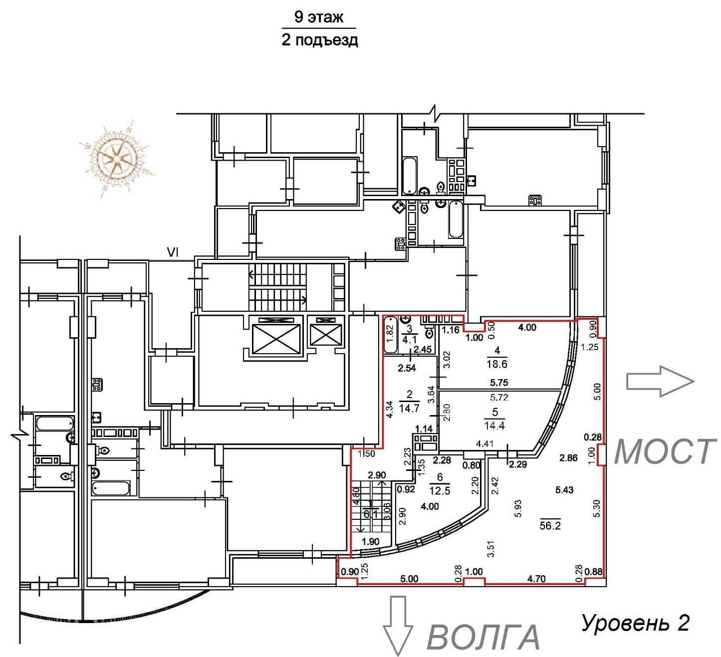 2-уровневая 4-комнатная квартира жк Столица новостройки Саратова 2 уровень