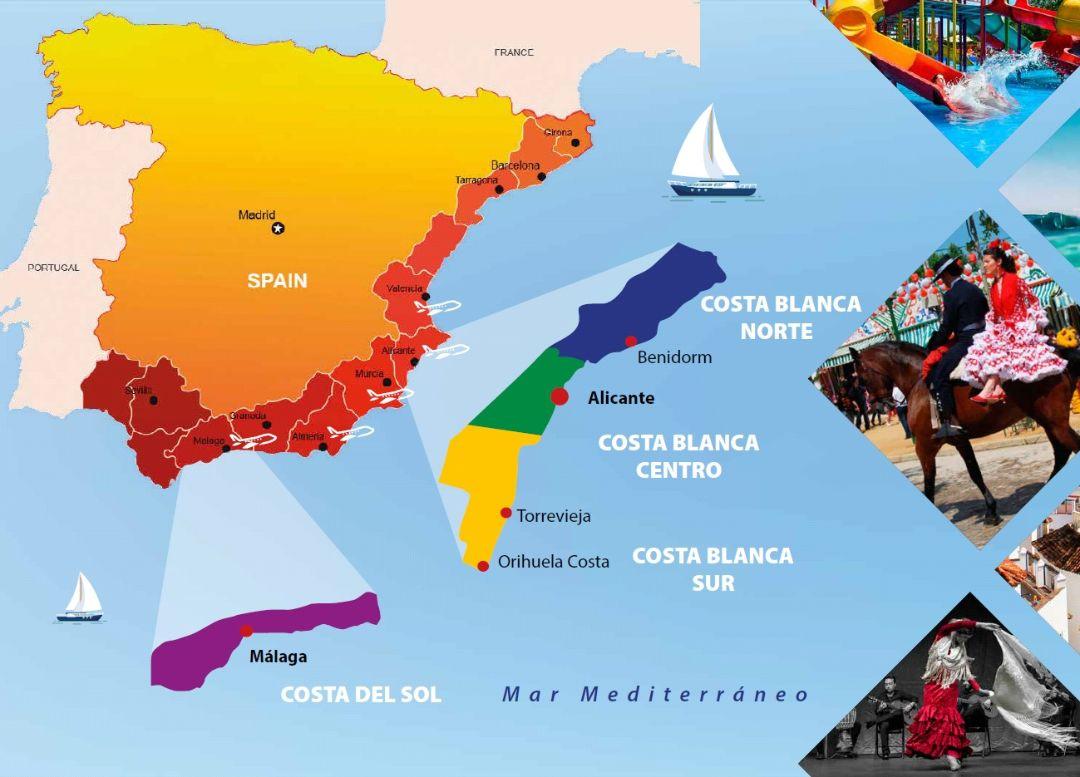 Карта побережья Испании