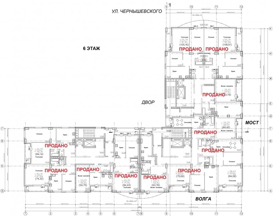 План 6 этажа Новостройки Саратова ЖК Столица