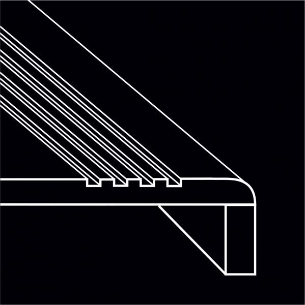Г-образная ступень (Вальцевание края ступени с полировкой+раскрой подступенка+склейка)