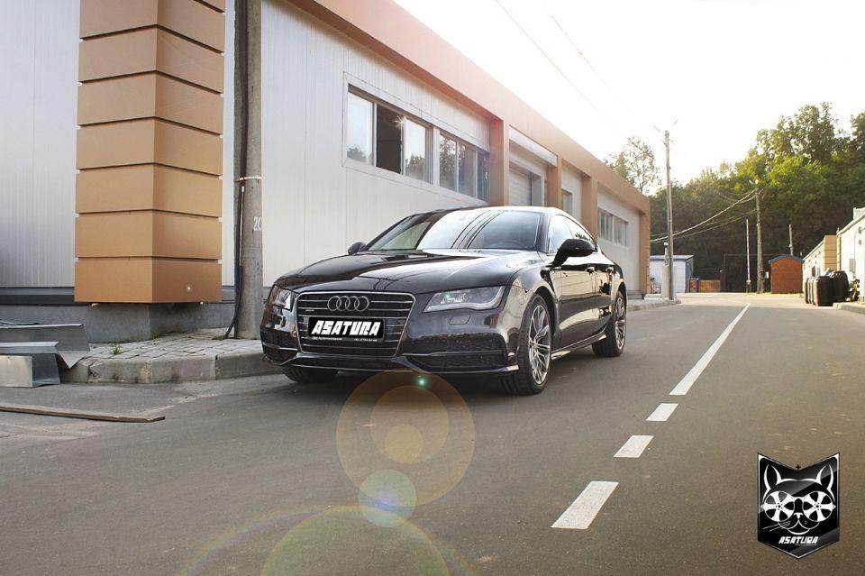 Audi A7 - Покраска кузова автомобиля, матовый пластик в салоне в черный глянец, фары в черный цвет, антихром, паталь. Тюнинг оптики.