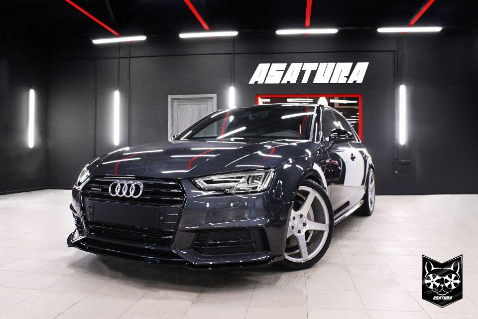 Audi - Антихром с дальнейшим нанесении аквапечати в соты, покраска зеркал, сплитера.