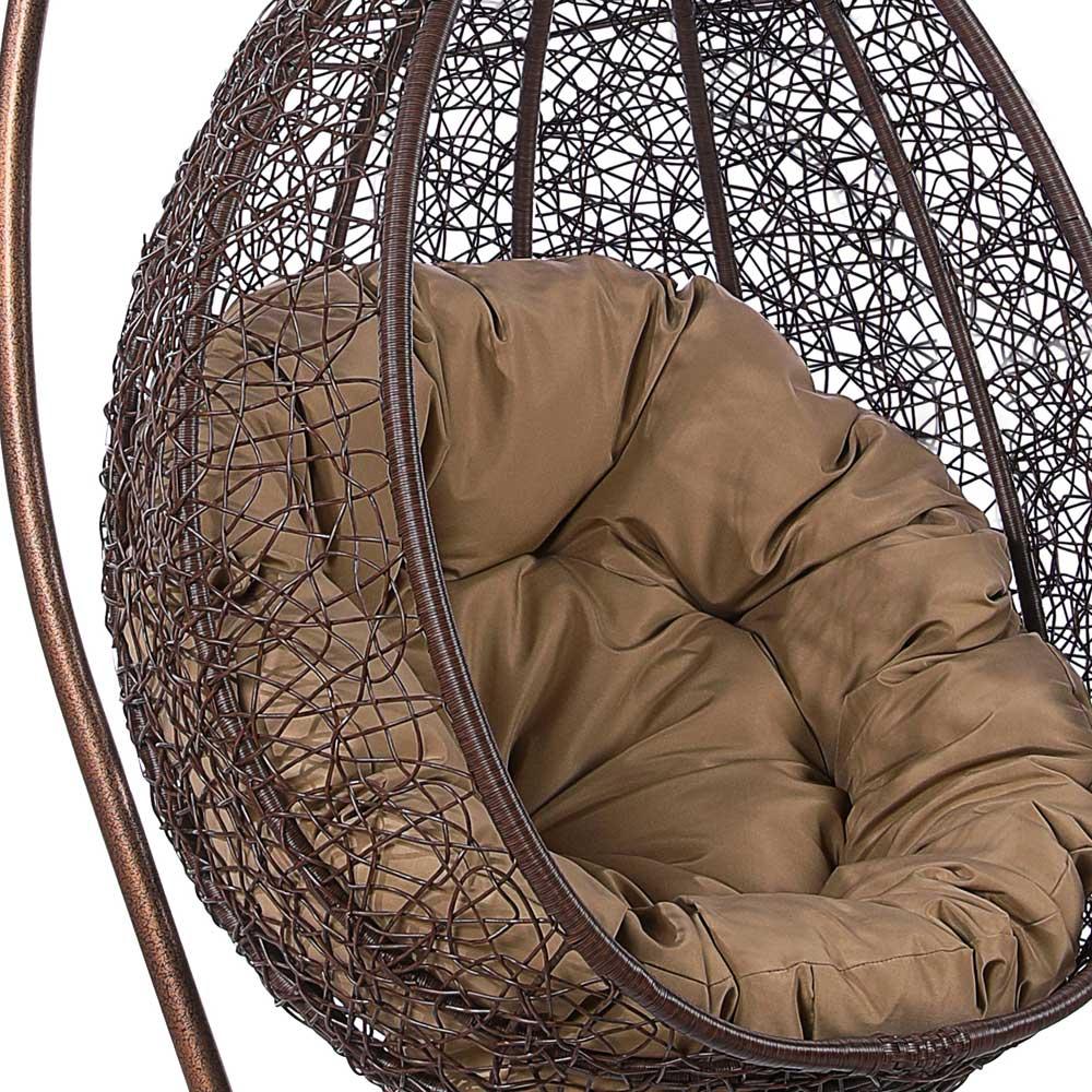 картинка CIGYB Brown Подвесное Кресло-качели плетеное из ротанга от магазина InYard