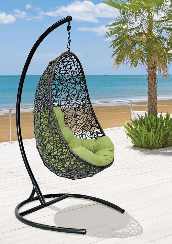 картинка EASY Венге Подвесное Кресло-качели плетеное из ротанга от магазина InYard