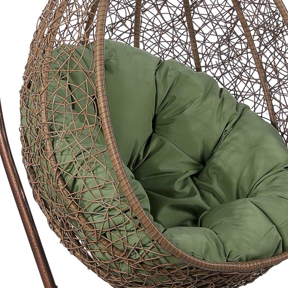 картинка CIGYB LBrown Подвесное Кресло-качели плетеное из ротанга от магазина InYard