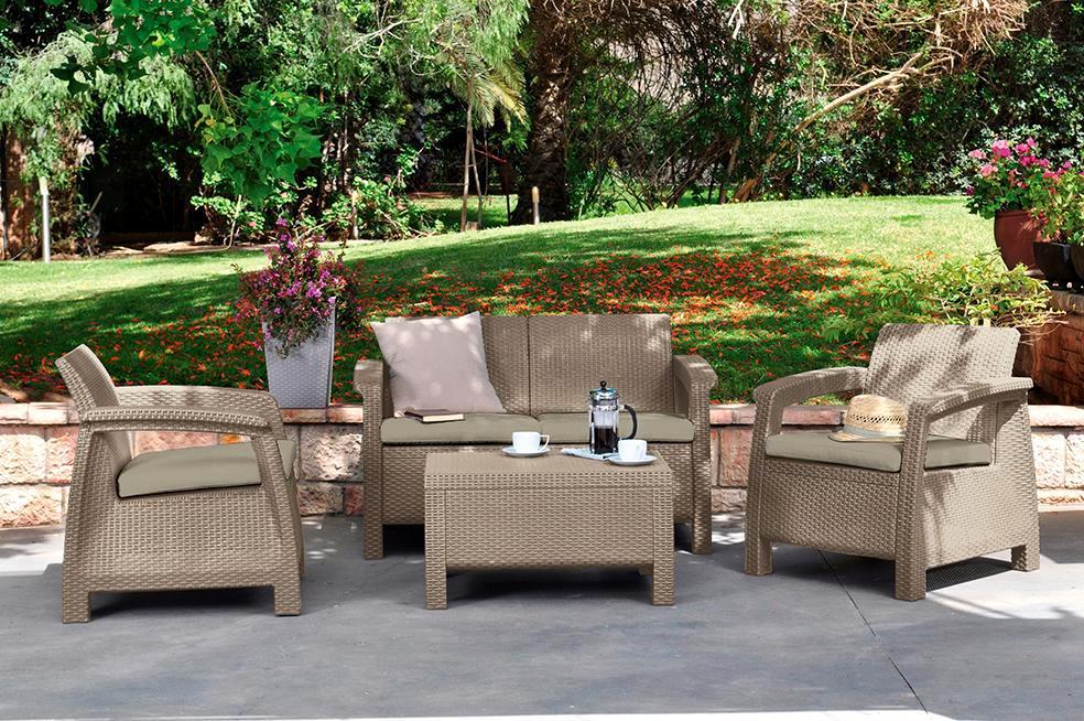 картинка YALTA New 4 Beige Комплект мебели для отдыха пластик, имитация ротанга от магазина InYard