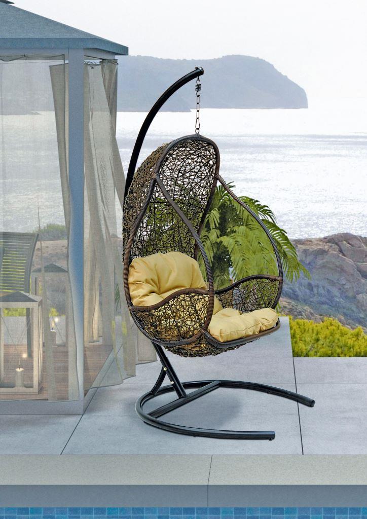 картинка FLYHANG Браун Подвесное Кресло-качели плетеное из ротанга от магазина InYard
