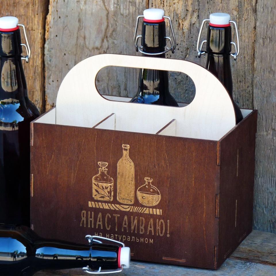 Подарочная коробка из дерева для бутылок
