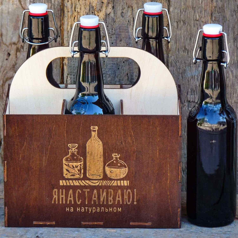Коробка из дерева для бутылкок