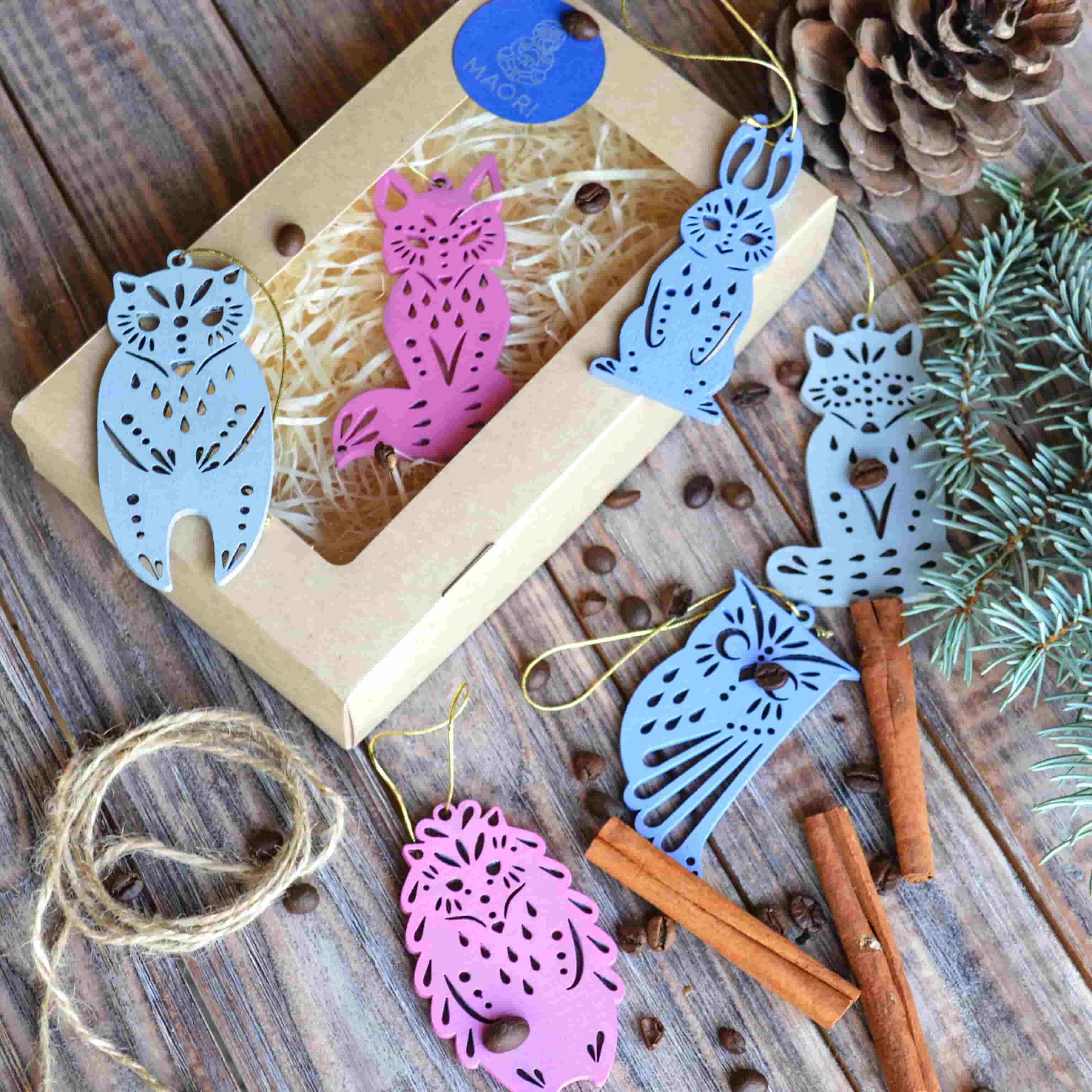 Деревянные ёлочные игрушки Волшебный лес