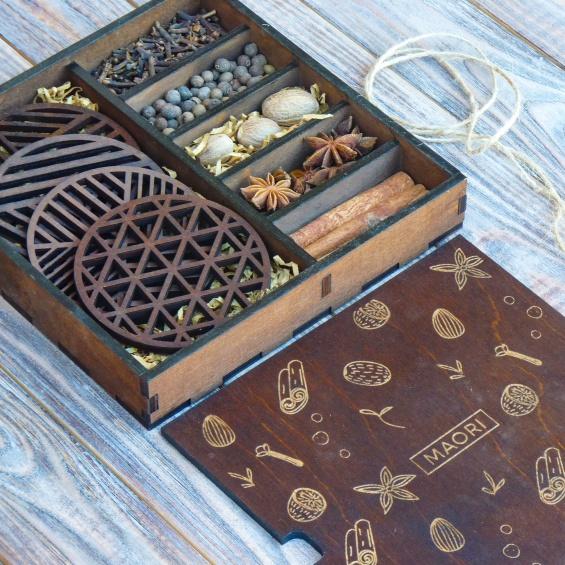 Новогодние подарки: набор для глинтвейна в подарочной коробке
