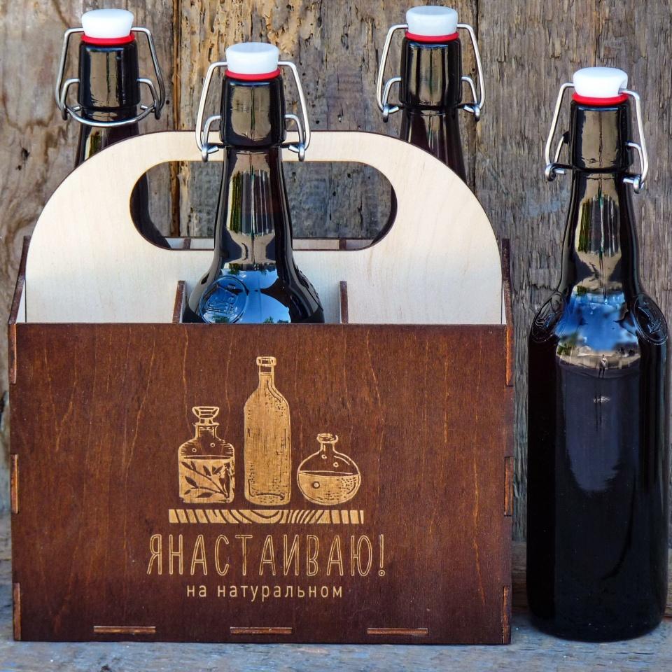 Коробка из дерева для пивных бутылок