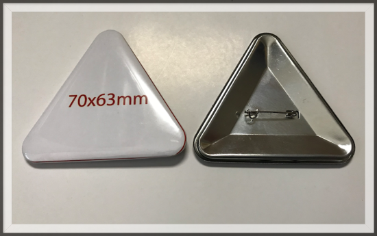 значок закатной треугольный 70х63 мм