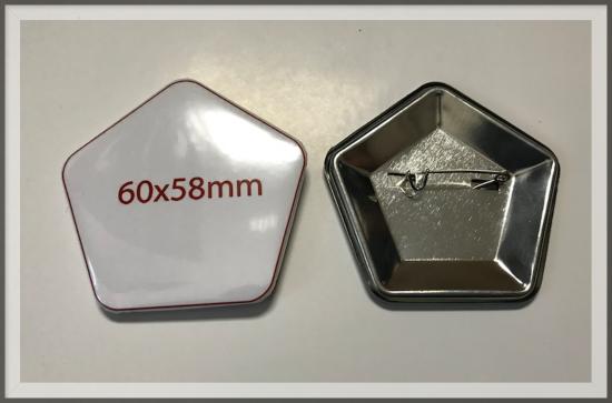 значок закатной пятиугольник 60х58 мм