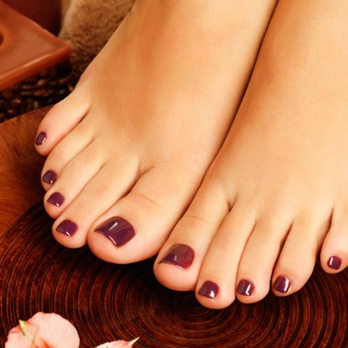 Coated with gel Polish. Treatment of feet or cuticles