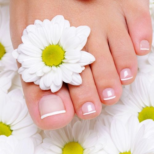 Pedicure with gel lacquer coating