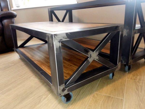 Консоль и журнальный стол в стиле лофт в процессе производства 28