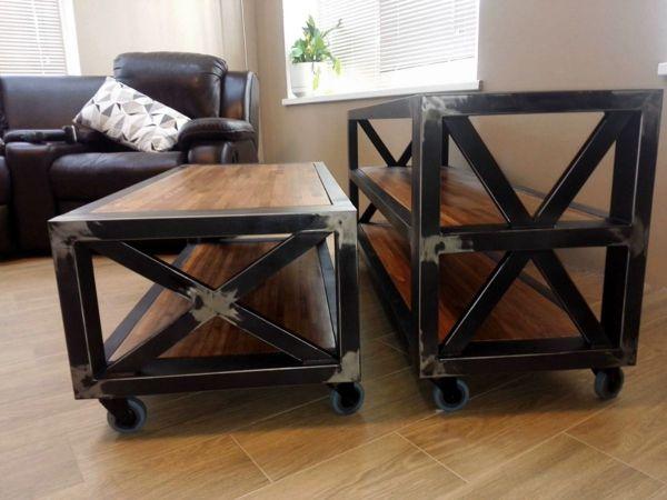 Консоль и журнальный стол в стиле лофт в процессе производства 30
