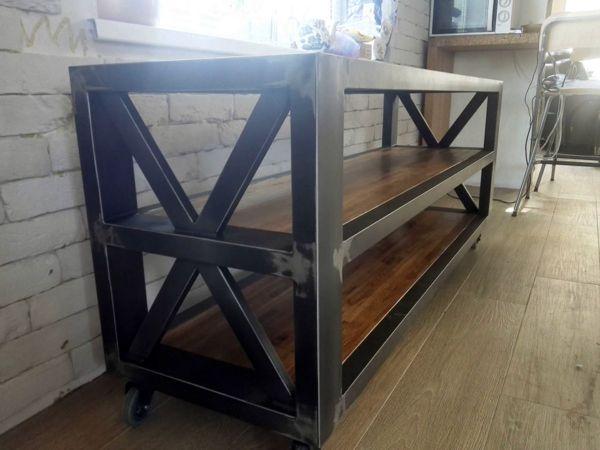 Консоль и журнальный стол в стиле лофт в процессе производства 24