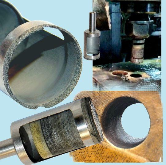 алмазные кольцевые сверла, которые  не образуют дефектов, расслоения и «разлохмачивания» при сверлении отверстий в многослойных композитных материалах