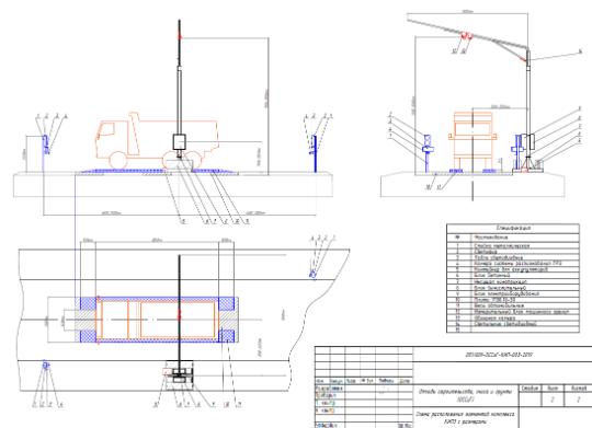 Схема размещения оборудования на объекте приема строительных отходов и грунтов согласно пояснительной записки