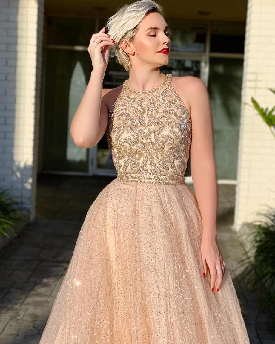 картинка Вечернее платье с пышной юбкой, стразами и бисером AV102903 интернет бутик Avolet.ru