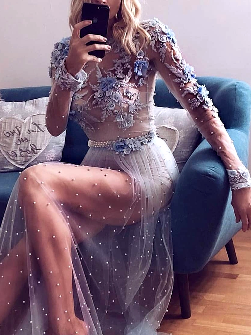 картинка Вечернее платье с жемчугом и кружевом AV105690 интернет бутик Avolet.ru