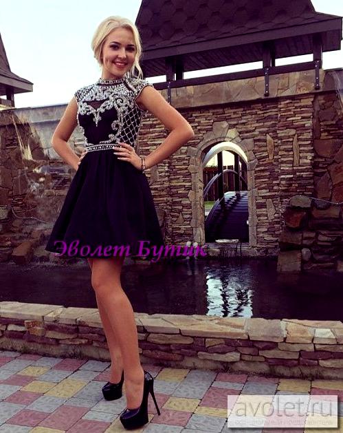 картинка Короткое платье с жемчугом и бисером AV102881 интернет бутик Avolet.ru