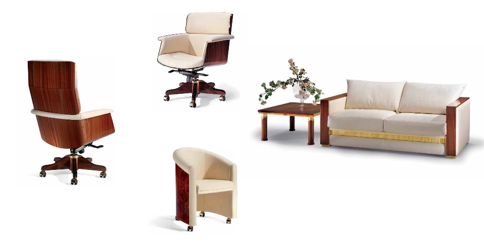 Кресло руководителя, Кресла посетителей, Диван – Кабинет премиум класса Ascot Elledue