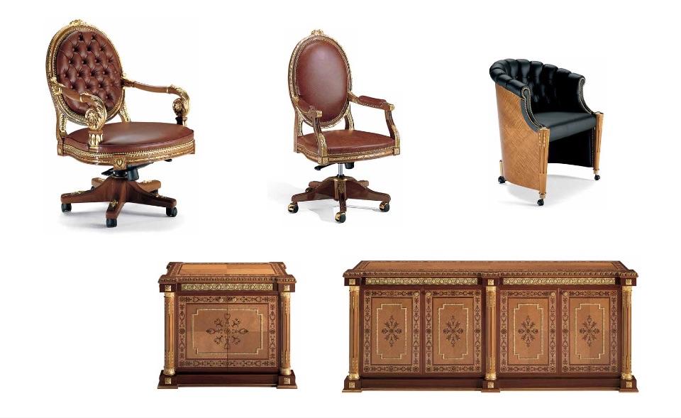 Кресло руководителя, посетителей, Тумбы – Кабинет премиум класса Almaty Elledue