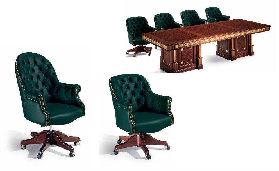 Кресло руководителя, посетителей Olimpus, брифинг стол – Кабинет премиум класса Tudor Elledue