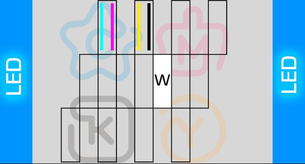 Схема печатных голов уф принтера CMYC+W на трёх печатных головах