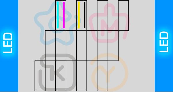 Схема печатных голов уф принтера CMYK на 2 печатных головах