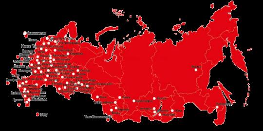 """Карта поставок продукции """"СВЯЗЬИНФО"""", ГК """"АЛЬФАГРУПП"""""""