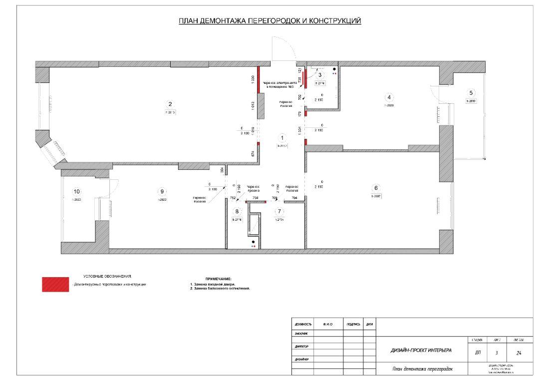 План демонтажа перегородок и конструкций