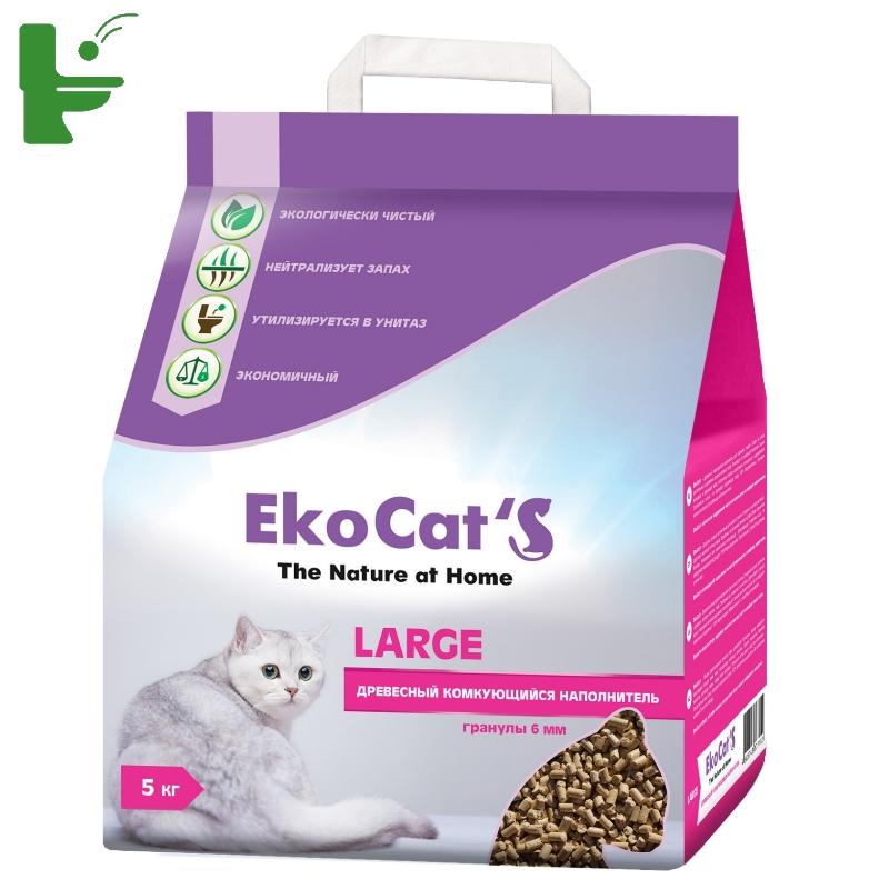 картинка Eko Cat`s Large древесный комкующийся наполнитель