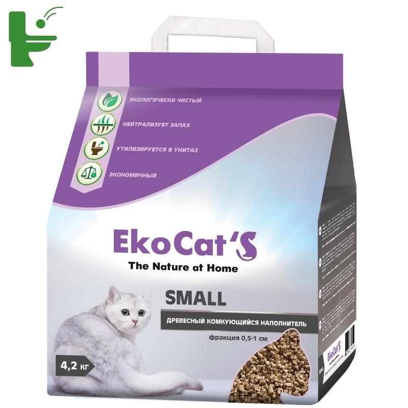 картинка Eko Cat`s Small древесный комкующийся наполнитель