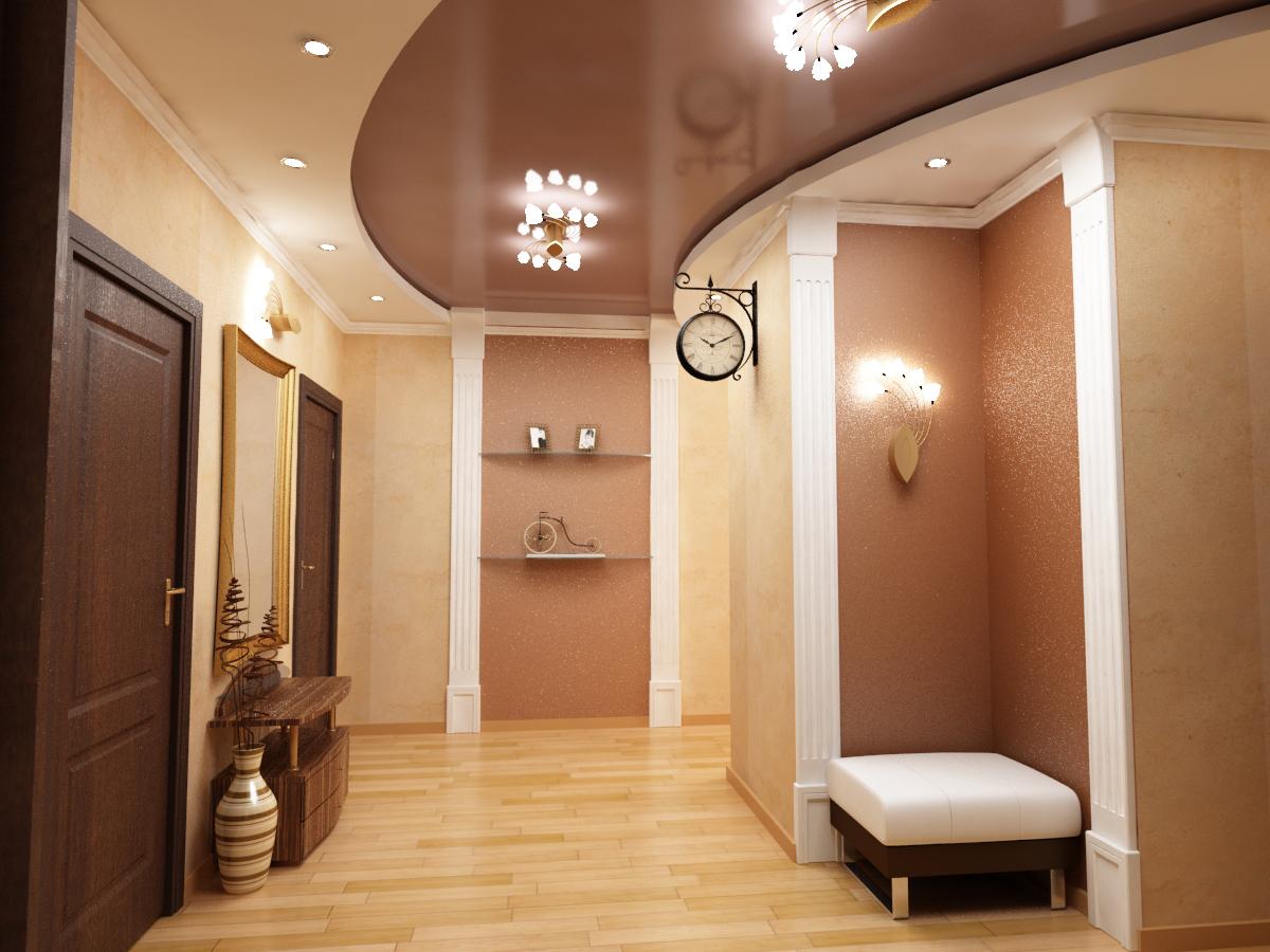Светло коричневый натяжной потолок в интерьере жилой квартиры