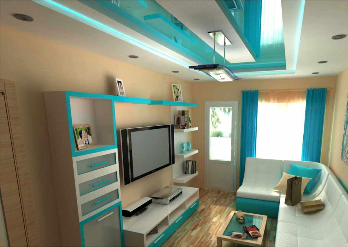 Голубые с синим натяжные потолки глянцевой и лаковой фактур