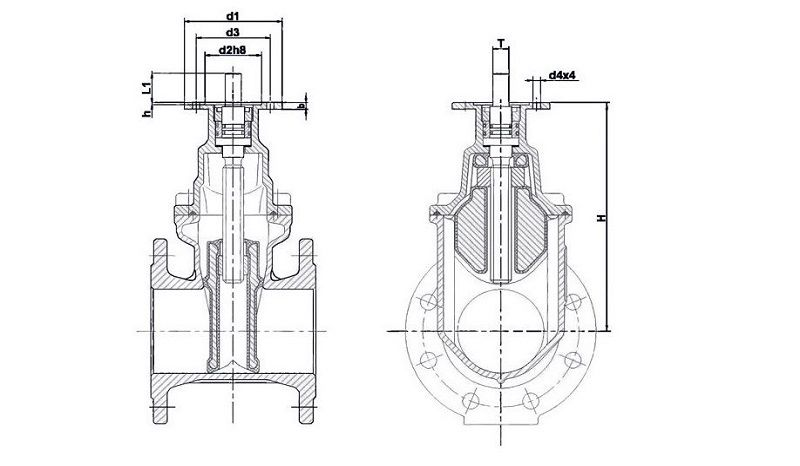 размеры задвижки с электроприводом