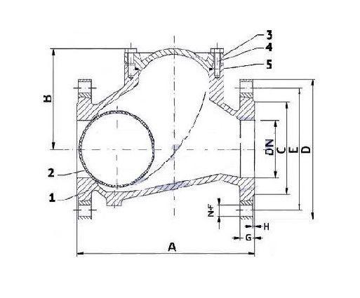 Чертеж обратного клапана Ду200 IDRA
