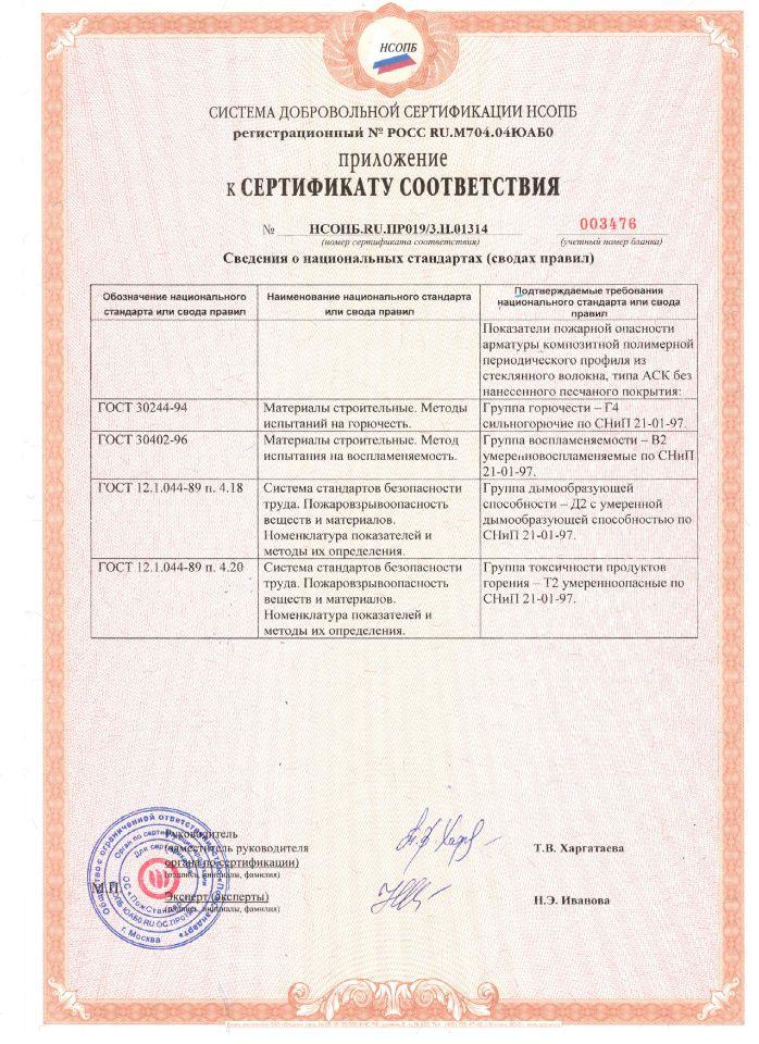 Приложение к сертификату соответствия НСОПБ.RU.ПР019/ 3.Н.01314 ТУ 2296-001-26968101-2016